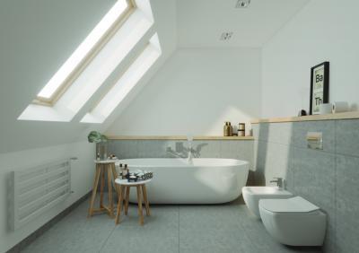 Világos fürdőszoba - fürdő / WC ötlet, modern stílusban