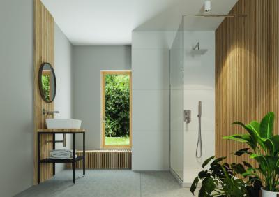 Fa- és hidegburkolat a fürdőben - fürdő / WC ötlet, modern stílusban