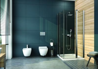 Sötét színű burkolat a fürdőben - fürdő / WC ötlet, modern stílusban