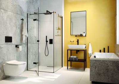 Szürke hidegburkolat a fürdőben - fürdő / WC ötlet, modern stílusban