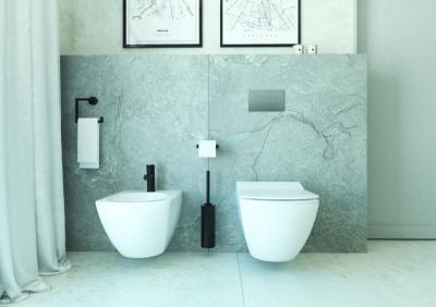 Márványhatású burkolat a fürdőben - fürdő / WC ötlet, modern stílusban