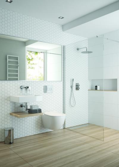 Fehér-natúr fürdő - fürdő / WC ötlet, modern stílusban
