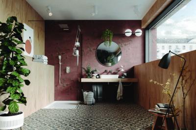 Mintás járólap a fürdőben - fürdő / WC ötlet, modern stílusban