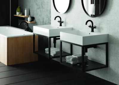 Szürkéskék burkolat a fürdőben - fürdő / WC ötlet, modern stílusban