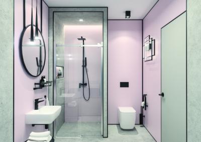 Pasztell színű burkolatok a fürdőben - fürdő / WC ötlet, modern stílusban