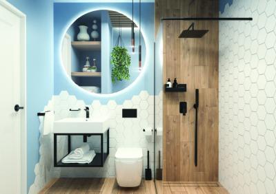 Fehér és kék hidegburkolatok - fürdő / WC ötlet, modern stílusban