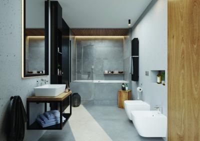 Letisztult burkolatok - fürdő / WC ötlet, modern stílusban