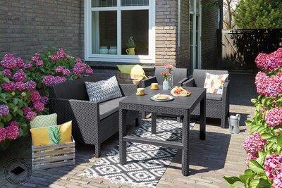 Sötét színű kerti bútorok - erkély / terasz ötlet, modern stílusban