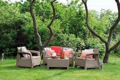 Szürke kerti bútor garnitúra - kert / udvar ötlet, modern stílusban