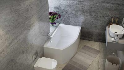 Akril aszimmetrikus kád - fürdő / WC ötlet, modern stílusban
