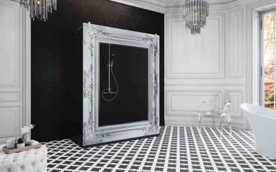 Zuhanykabin - Zuhanyfal lézergravírral - fürdő / WC ötlet