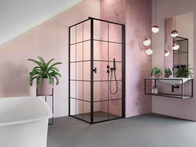 Szögletes zuhanykabin - fürdő / WC ötlet, modern stílusban