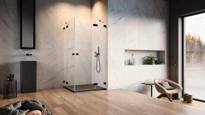 Szögletes üveg zuhanykabin - fürdő / WC ötlet
