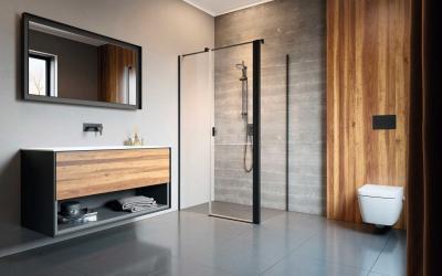 Szögletes fekete zuhanyabin - fürdő / WC ötlet, modern stílusban