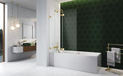 Arany kádparaván - fürdő / WC ötlet, modern stílusban