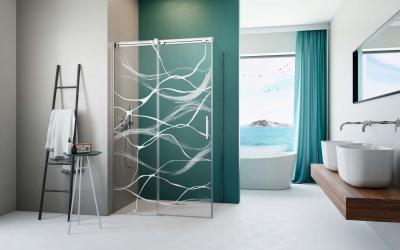Szögletes zuhanykabin lézergravírral - fürdő / WC ötlet, modern stílusban