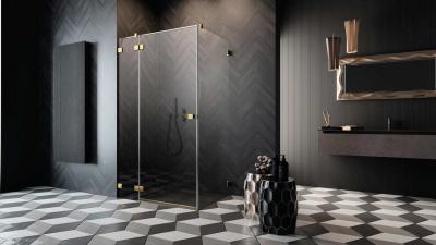Szögletes arany zuhanykabin - fürdő / WC ötlet