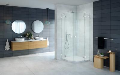 Íves zuhanykabin - fürdő / WC ötlet, modern stílusban
