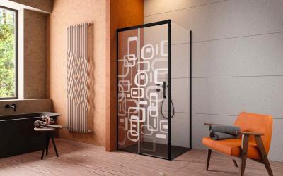Zuhanykabin lézergravírral - fürdő / WC ötlet, modern stílusban