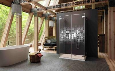 Zuhanykabin lézergravírozással - fürdő / WC ötlet, modern stílusban