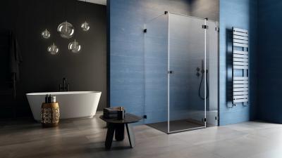 Fekete zuhanykabin - fürdő / WC ötlet, modern stílusban
