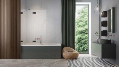 Fekete kádparaván - fürdő / WC ötlet, modern stílusban