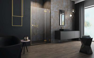 Arany zuhanyajtó - fürdő / WC ötlet, modern stílusban