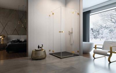 Arany zuhanykabin - fürdő / WC ötlet, modern stílusban