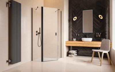 Szögletes fekete zuhanykabin - fürdő / WC ötlet, modern stílusban