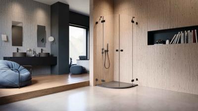 Íves fekete zuhanykabin - fürdő / WC ötlet, modern stílusban
