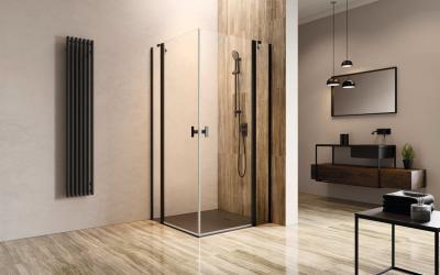 Fekete szögletes zuhanykabin - fürdő / WC ötlet, modern stílusban