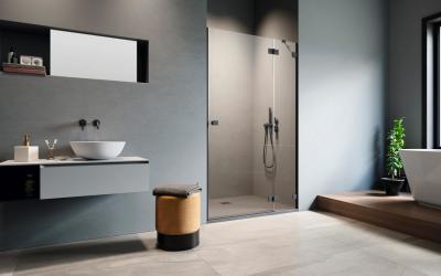 Fekete zuhanyajtó - fürdő / WC ötlet, modern stílusban