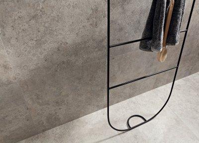 Szürke hidegburkolat - fürdő / WC ötlet, modern stílusban