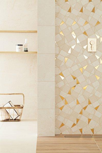 Fehér és arany színű csempe - fürdő / WC ötlet, modern stílusban