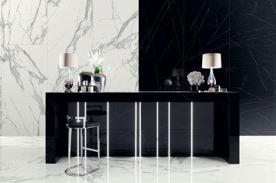 Fekete és fehér hidegburkolat - fürdő / WC ötlet, modern stílusban