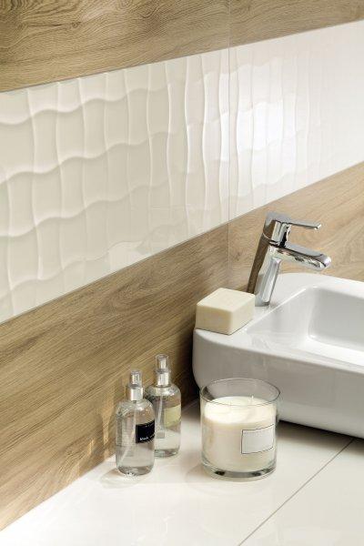 Fahatású és fehér csempe - fürdő / WC ötlet, modern stílusban