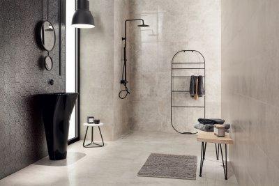 Fényes szürke hidegburkolat - fürdő / WC ötlet, modern stílusban