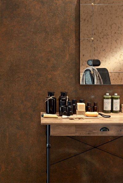 Rozsdaszínű csempe - fürdő / WC ötlet, modern stílusban