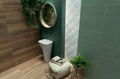 Fahatású csempe - fürdő / WC ötlet, modern stílusban