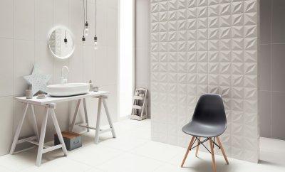 Variációk fehér csempére - fürdő / WC ötlet, modern stílusban
