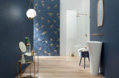 Különleges kék csempék - fürdő / WC ötlet, modern stílusban