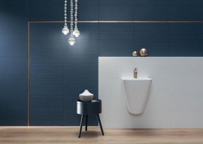 Kék csempe - fürdő / WC ötlet, modern stílusban