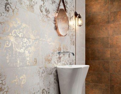 Arany mintás csempe - fürdő / WC ötlet, modern stílusban