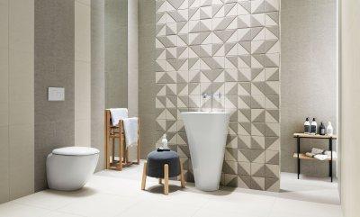 Fehér szürke csempe - fürdő / WC ötlet, modern stílusban