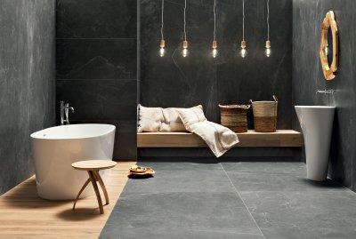 Kő hatású csempe - fürdő / WC ötlet, modern stílusban