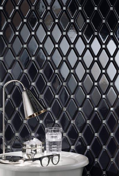 Fekete csempe - fürdő / WC ötlet, modern stílusban