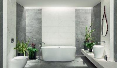 Kőhatású csempe - fürdő / WC ötlet, modern stílusban