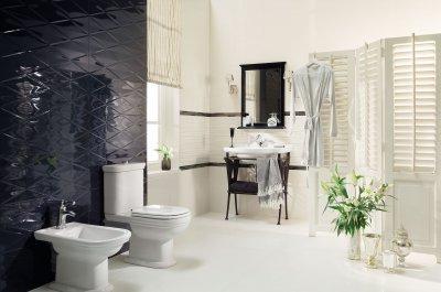 Fényes, fekete csempe - fürdő / WC ötlet, modern stílusban