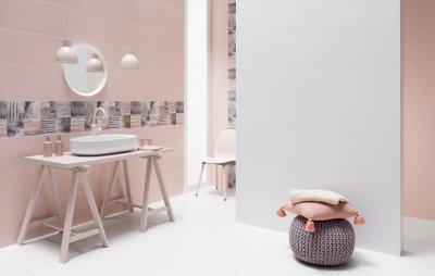 Rózsaszínű csempe - fürdő / WC ötlet, modern stílusban
