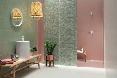 Élénk színek a csempén - fürdő / WC ötlet, modern stílusban